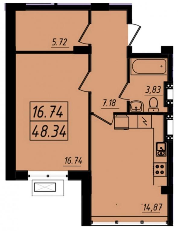 Планировки однокомнатных квартир 48.34 м^2